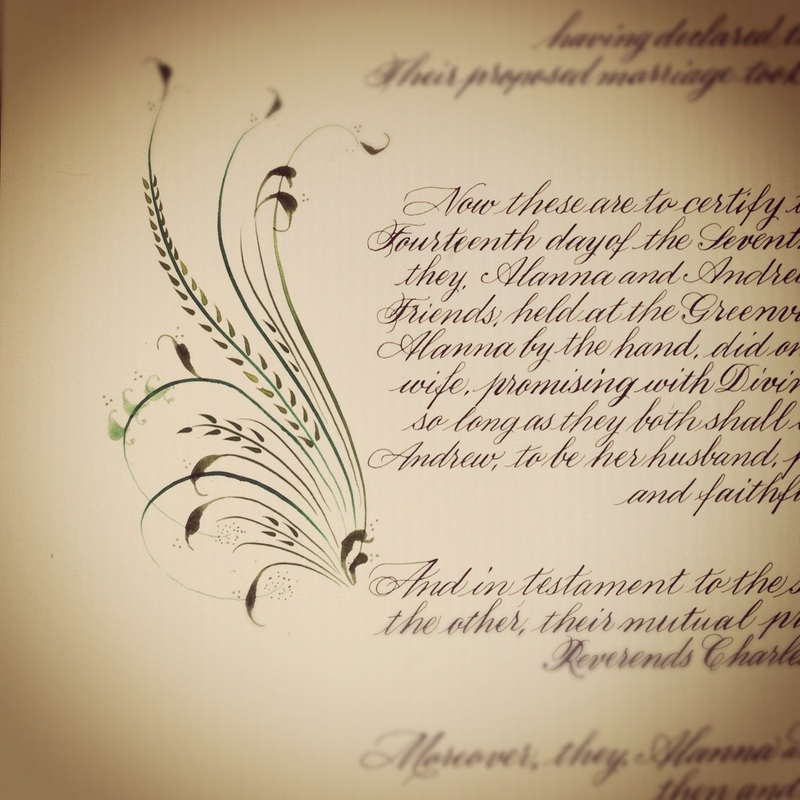 Just Finished This Quaker Wedding Certificate With Decorative